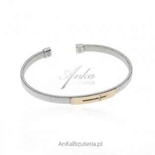 Piękna bransoletka srebrne z pozłacanym krzyżykiem