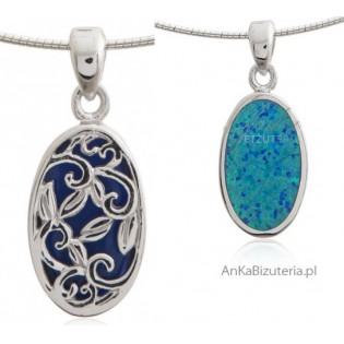 Wisiorek srebrny z niebieskim opalem - zawieszka dwustronna