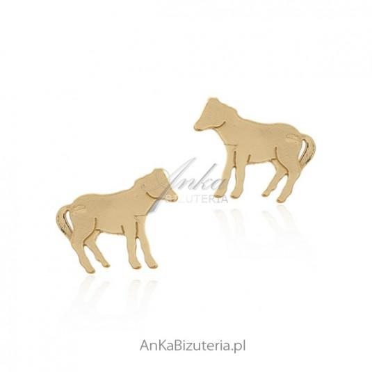 Subtelne kolczyki srebrne pozłacane _KONIKI_ Biżuteria włoska
