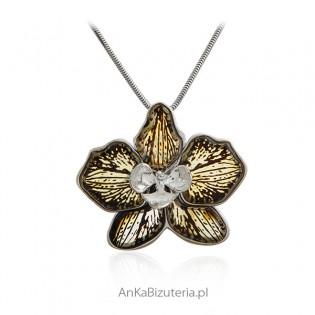 Piękny KWIAT z bursztynem - biżuteria srebrna artystyczna