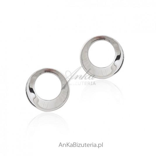 Kolczyki srebrne kółeczka 3D - Biżuteria srebrna włoska