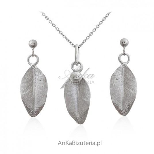 Biżuteria srebrna komplet listki - Piękna subtelna bizuteria