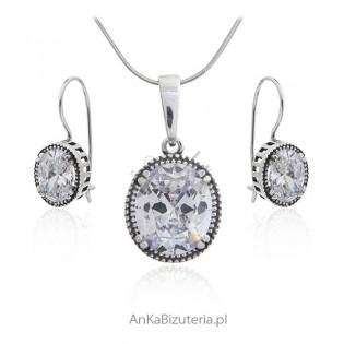 Biżuteria srebrna komplet z dużą cyrkonią - SCARLETT