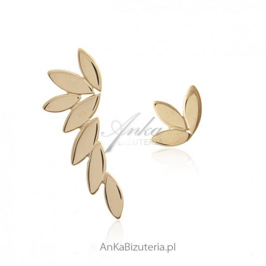 Kolczyki srebrne pozłacane listki - Biżuteria srebrna pozłacana
