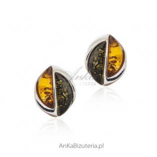 Biżuteria srebrna - kolczyki z bursztynem koniak i zieleń