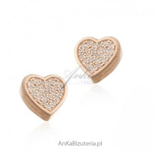 Kolczyki srebrne pozłacane różowym złotem z cyrkoniami - serduszka