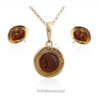 Komplet biżuteria srebrna pozłacana z bursztynem - Klasyka