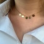 Naszyjnik srebrny pozłacany Choker z maleńkimi kółeczkami