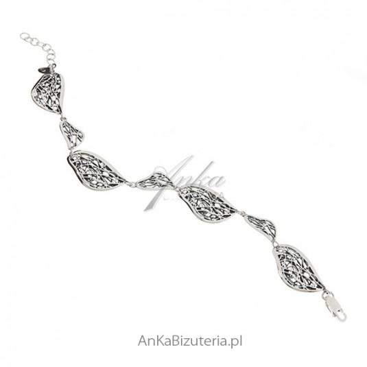 Bransoletka srebrna oksydowana - PAJĘCZYNKA - z kolekcji SCARLETT