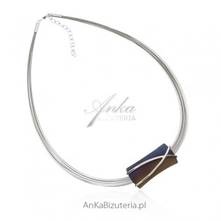 Naszyjnik srebrny z tytanu - Artystyczna biżuteria damska