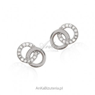 Kolczyki srebrne kółka z cyrkoniamii - śliczna biżuteria