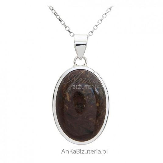 Zawieszka srebrna z kamieniem Pietrasite - naturalny kamień unikat