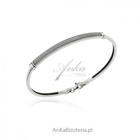 Bransoletka srebrna oksydowana - Piękna srebrna bizuteria