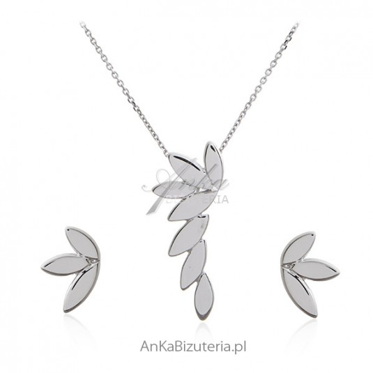 Komplet biżuteria srebrna -LISTKI