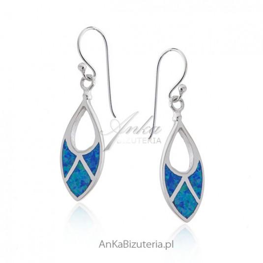 Kolczyki srebrne z niebieskim opalem - Biżuteria srebrna na prezent