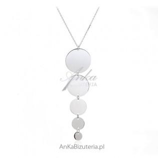 Elegancki naszyjnik srebrny z kółeczkami