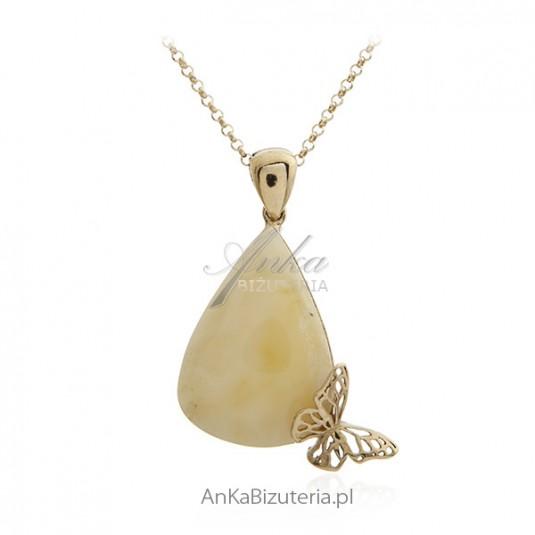 Biżuteria srebrna z bursztynem - Zawieszka z biały bursztynem pozłacana