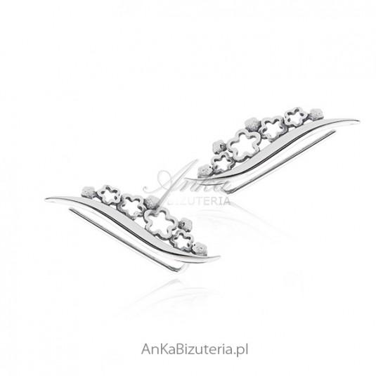 Kolczyki srebrne nausznice kwiatki