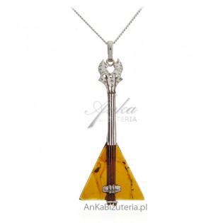 Biżuteria srebrna z bursztynem - zawieszka gitara