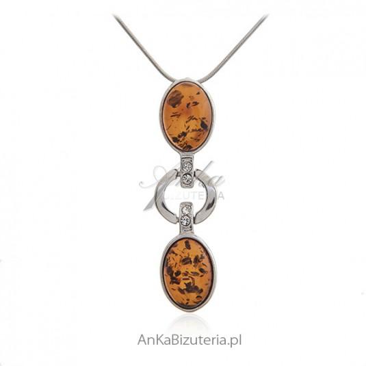 Naszyjnik srebrny z bursztynem i cyrkoniami