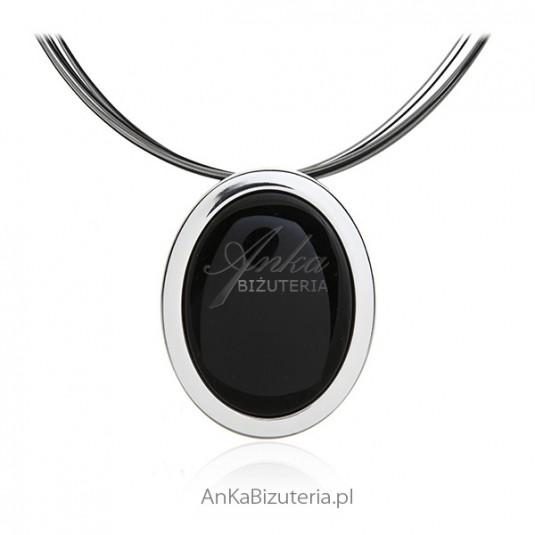 Broszko wisior srebrny z onyksem Klasyczna biżuteria srebrna