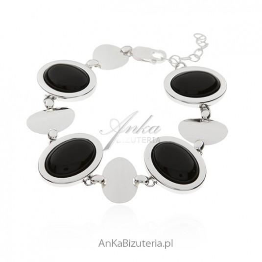 Bransoletka srebrna z czarnym onyksem Klasyczna biżuteria