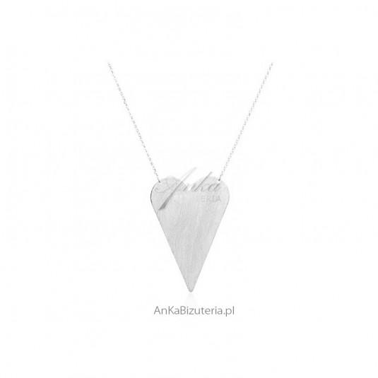 Srebrne satynowane serce Piękna biżuteria Dall Acqua