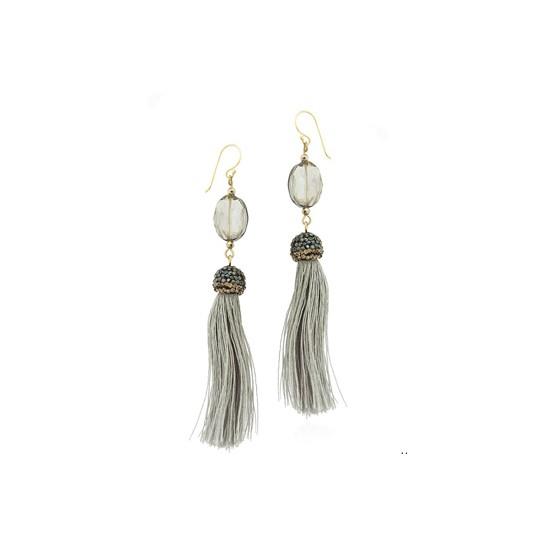 Chwosty - kolczyki z frędzelkami na srebrnym zapięciu - szare