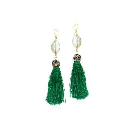 Kolczyki z jedwabnymi frędzelkami - CHWOSTY - piękna zieleń