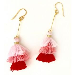 Kolczyki srebrne małe CHWOSTY - 925 - różowo-czerwone