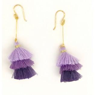 Kolczyki CHWOSTY z jedwabnymi frędzelkami - fiolety