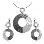 Komplet biżuteria srebrna oksydowana - Modna biżuteria
