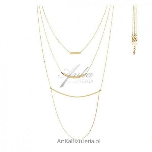 Naszyjnik srebrny pozłacany 3 w 1 - Modułowa biżuteria na 3 sposoby