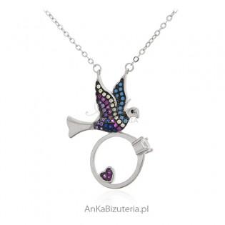 Srebrna biżuteria NASZYJNIK JASKÓŁKA Z PIERŚCIONKIEM ZARĘCZYNOWYM