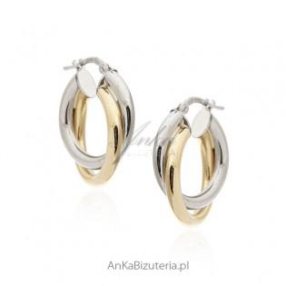 Kolczyki srebrne srebro i srebro pozłacane - Piękny splot