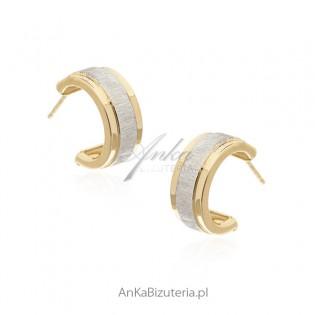 Kolczyki srebrne pozłacane i satynowane - piękna włoska bizuteria