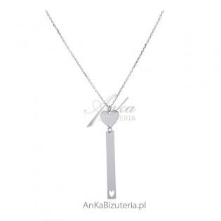 Naszyjnik srebrny z serduszkiem - Modna włoska biżuteria