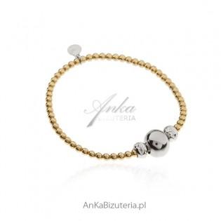 Biżuteria srebrna - Bransoletka srebrna pozłacana kuleczki