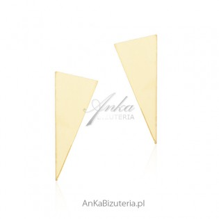 Biżuteria srebrna - Kolczyki srebrne trójkąty srebrne pozłacane