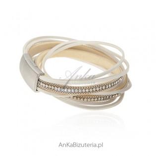 Fantastyczna bransoletka ze skóry i kryształów w kolorze Boreare