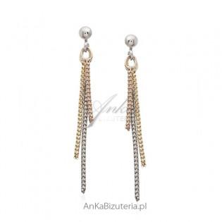 Kolczyki srebrne wiszące łańcuszki w trzech kolorach - biżuteria włoska
