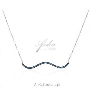 Naszyjnik srebrny z turkusami - Elegancka FALA