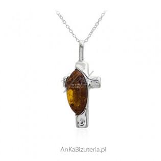 Krzyżyk srebrny z bursztynem - naturalny bursztyn w kolorze koniak