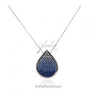 Naszyjnik srebrny z kolorowymi cyrkoniami - Piękna letnia biżuteria