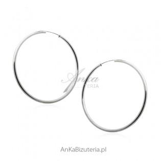 Kolczyki koła srebrna grube 6 cm