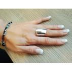 Awangardowa biżuteria srebrna - Szeroki pierścionek srebrny