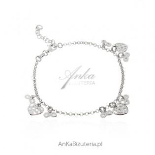 Bransoletka srebrna z przywieszkami : ażurowym serduszkiem i nieskończonością