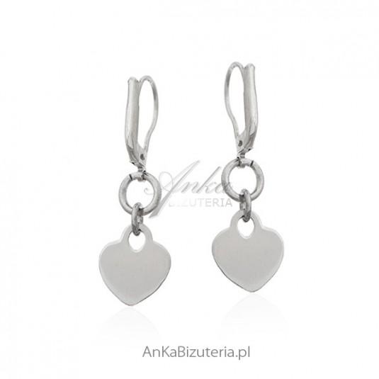 Biżuteria srebrna - Kolczyki srebrne serduszka - włoski design