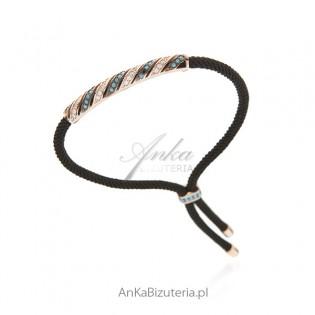 Biżuteria srebrna - bransoletka pozłacana z turkusami cyrkoniami