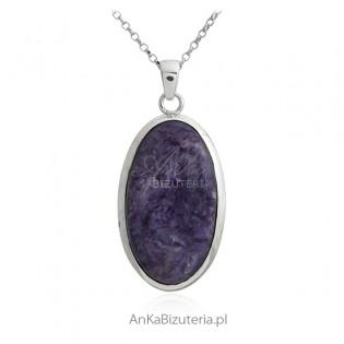 Biżuteria srebrna Duża zawieszka srebrna z czaroitem - Kamień